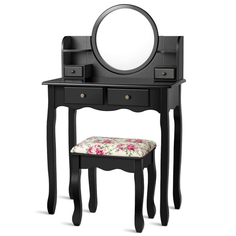 4-Drawer Makeup Vanity Table Set W/ Oval Mirror Girls Dressing Table Black