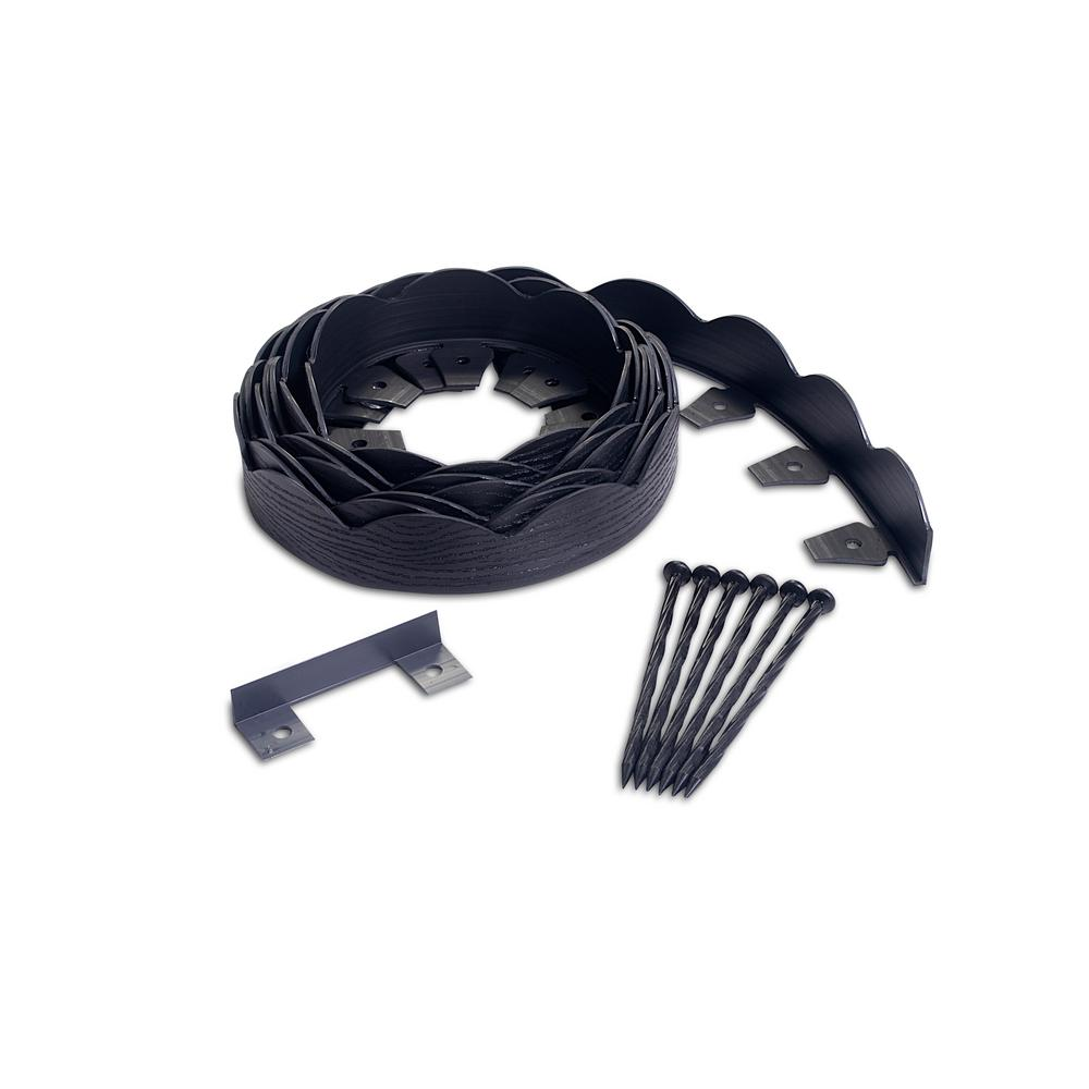 ProFlex ProFlex 20 ft. Black Scalloped Woodgrain Plastic No-Dig Edging Kit