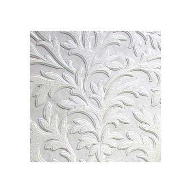 High Leaf Paintable Textured Vinyl White & Off-White Wallpaper Sample