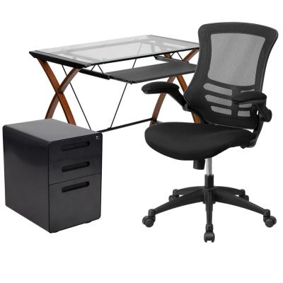 36 in. Rectangular Engineered Wood Black 3-Drawer Computer Desk with Keyboard Tray