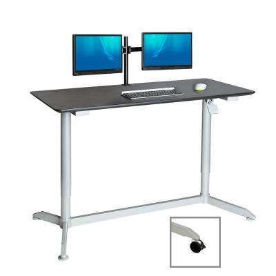 AIRLIFT Espresso 55 in Sit-Stand Mobile Desk With Adjustable Height Range 28.1 in to 43.9 in