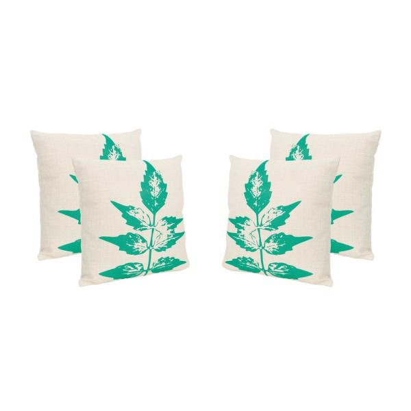 Sherman Beige and Green Square Outdoor Throw Pillows (Set of 4)