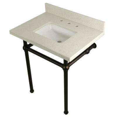 Square Washstand 30 in. Console Table in White Quartz with Metal Legs in Oil Rubbed Bronze