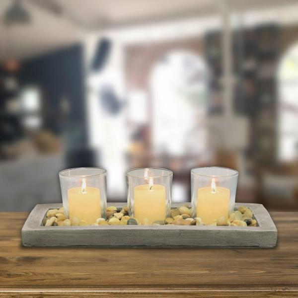 Stonebriar Collection 5 in. D Votive Candle Holder Set with Tray