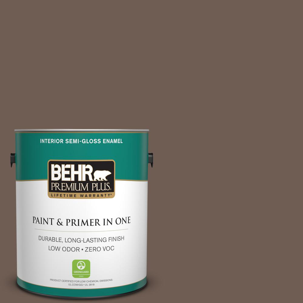 BEHR Premium Plus 1-gal. #N210-6 Swiss Brown Semi-Gloss Enamel Interior Paint