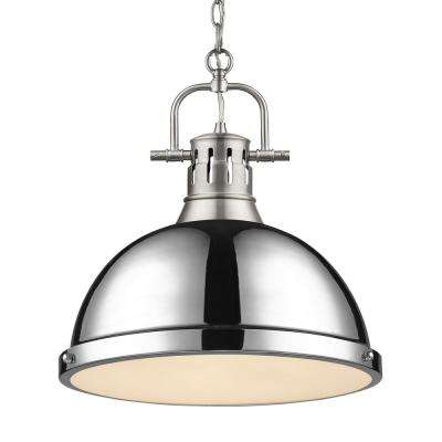Duncan 1-Light Pendant with Chain in Pewter with a Chrome Shade