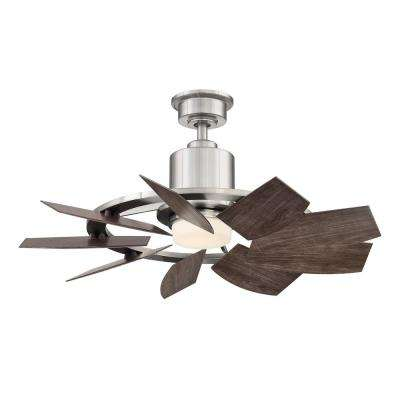 Stonemill 36 in. LED Outdoor Brushed Nickel Ceiling Fan with Light