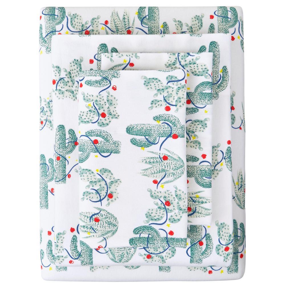 Cotton Flannel 4-Piece Queen Sheet Set in Cactus Green