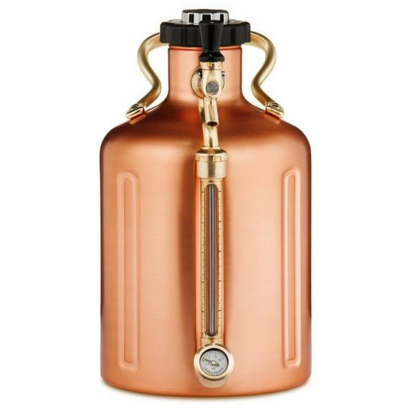 GrowlerWerks uKeg 128 oz. Copper Plated Pressurized Growler GWA1002-CU-NB-00
