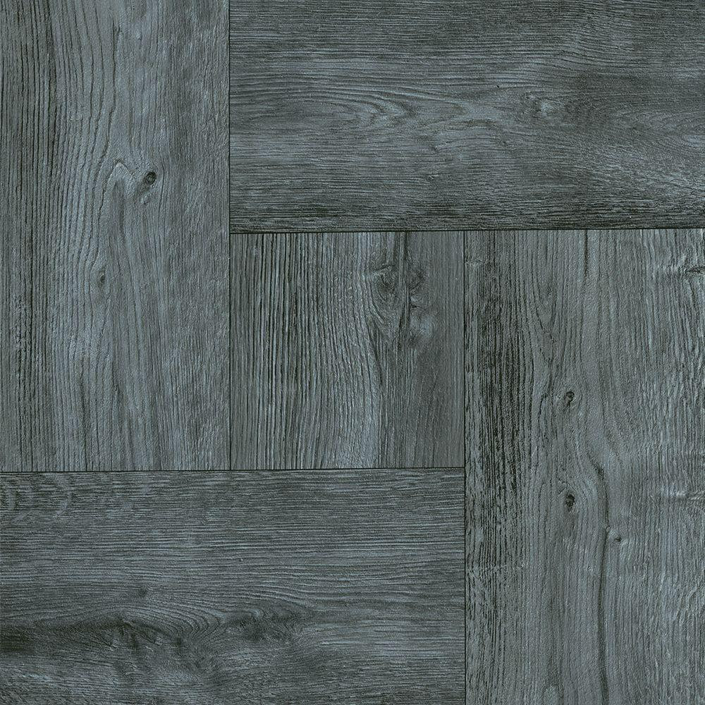 Trafficmaster Grey Wood Parquet 12 In Width X Length Resilient L And