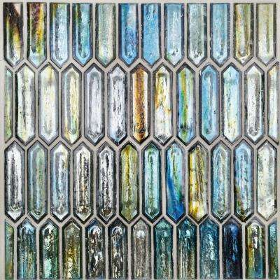Fargin Tropical Lagoon Elongated Hexagon 12 in. x 10 in. x 7mm Polished Glass Mosaic Tile (0.82 sq. ft.)