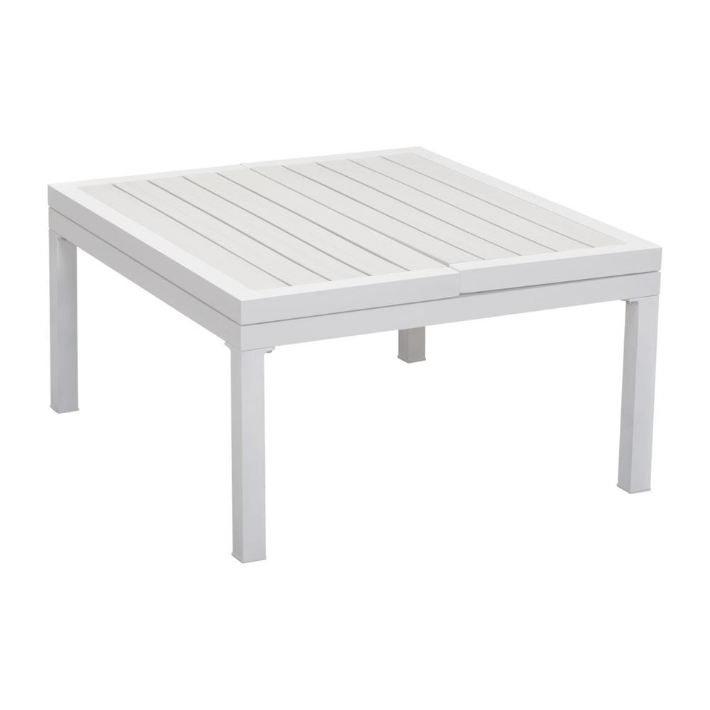 Santorini White Aluminum Outdoor Coffee Table