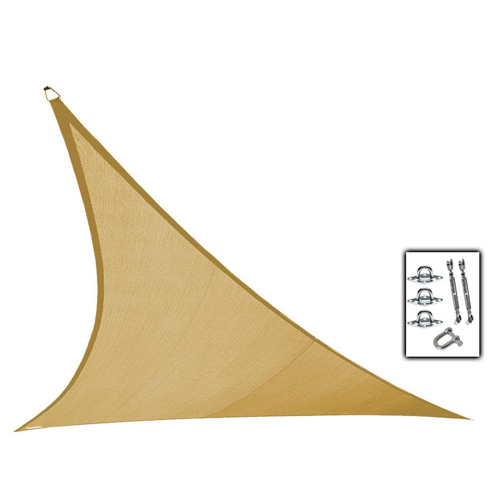Coolaroo 23 Ft X 23 Ft Beige Triangle Ultra Shade Sail With Kit
