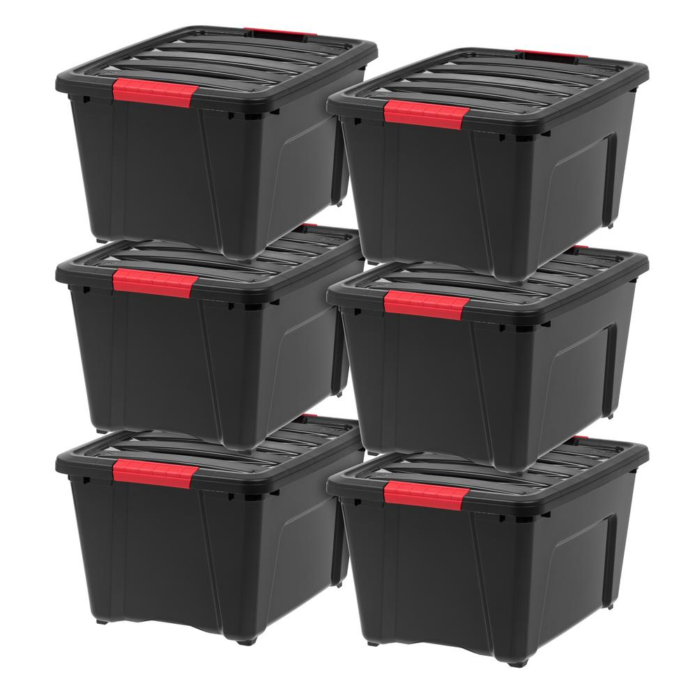 IRIS 32 Qt. Stack and Pull Storage Box in Black (6-Pack)