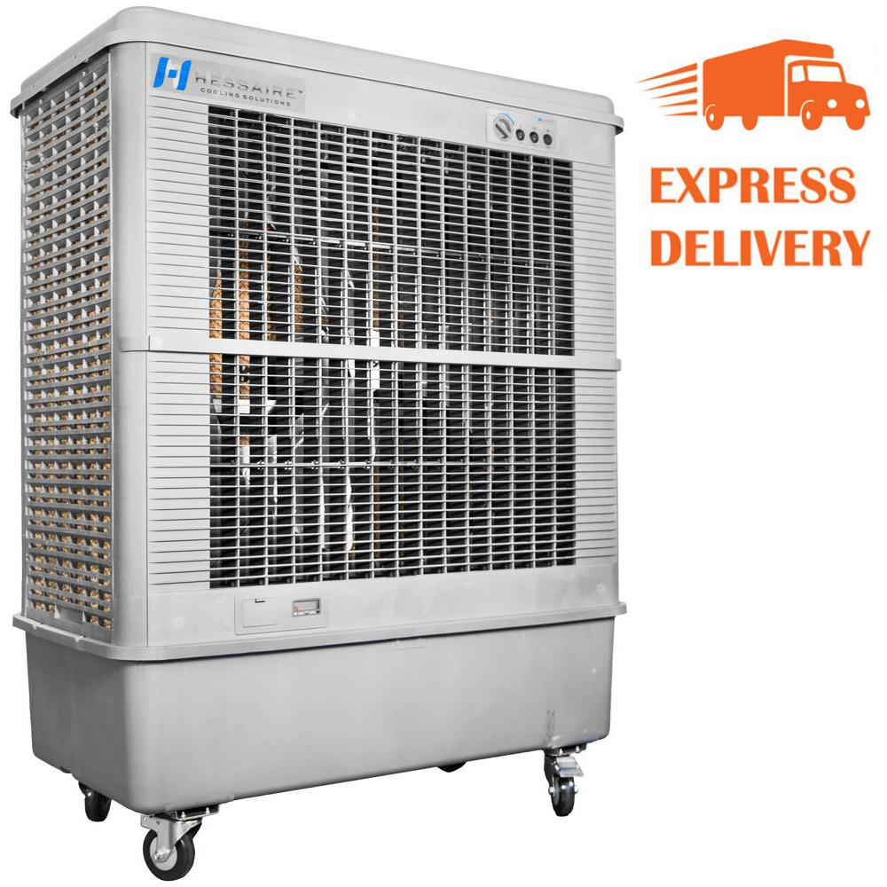 Hessaire 11 000 Cfm 3 Speed Portable Evaporative Cooler Swamp Cooler For 3 000 Sq Ft Mc92v The Home Depot