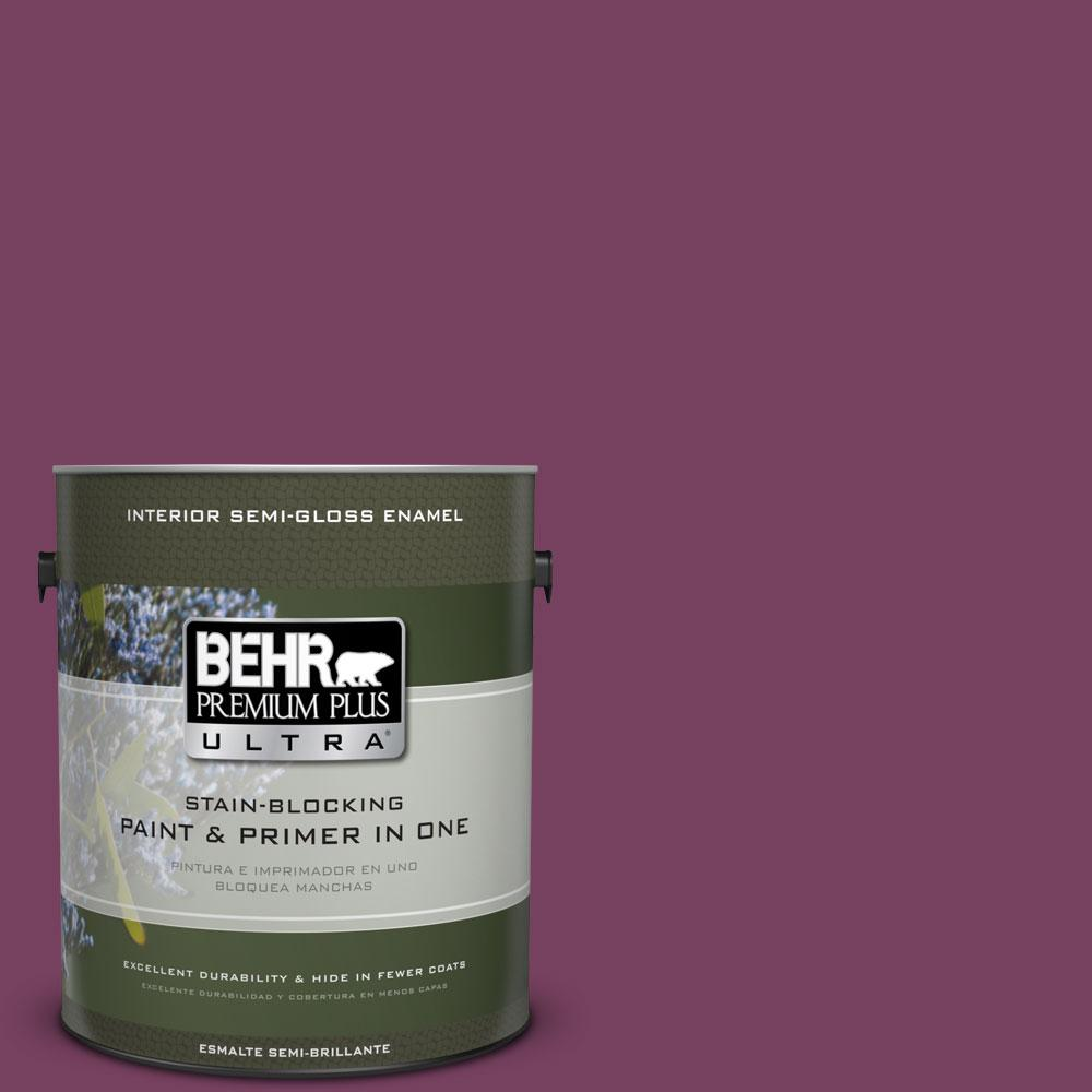 1-gal. #690B-7 Plum Jam Semi-Gloss Enamel Interior Paint