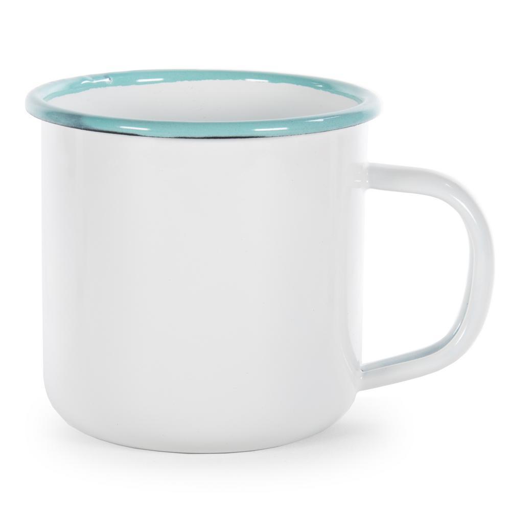 Sea Glass Rolled Edge 12 oz. Enamelware Coffee Mug (Set of 4)