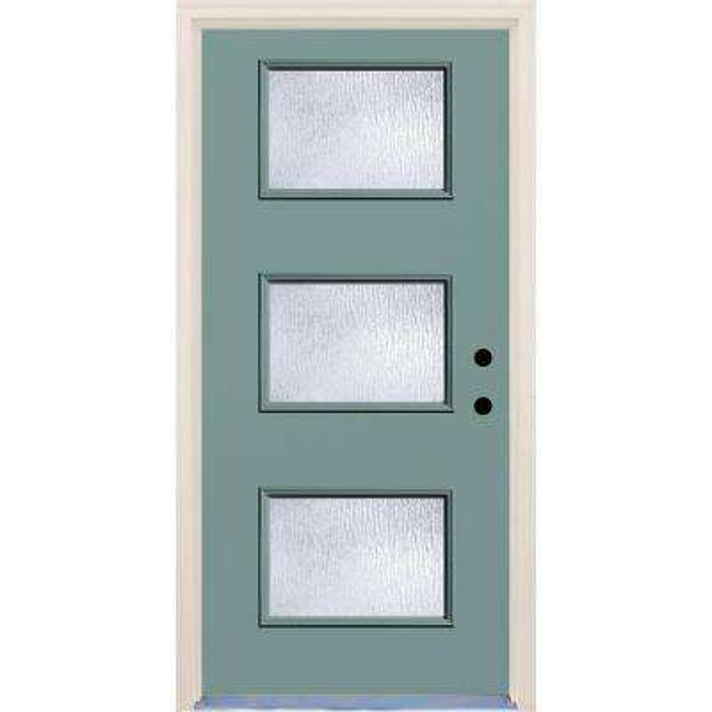 36 in. x 80 in. Surf Left-Hand 3 Lite Rain Glass Painted Fiberglass Prehung Front Door with Brickmould