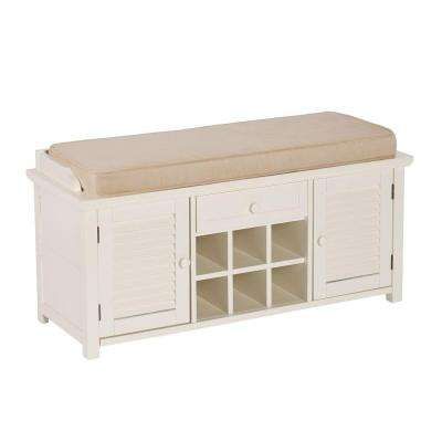 Joshua Antique White Shoe Storage Bench