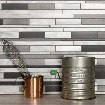 Blissful Metal 12.25 in. x 12.125 in. Wide Linear Brushed Silver Aluminum Decorative Wall Tile Backsplash