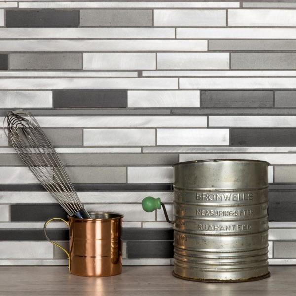 City Lights NY Gray Wide Linear Mosaic 12 in. x 12 in. Brushed Aluminum Metal Peel & Stick Wall Tile (1 Sheet)