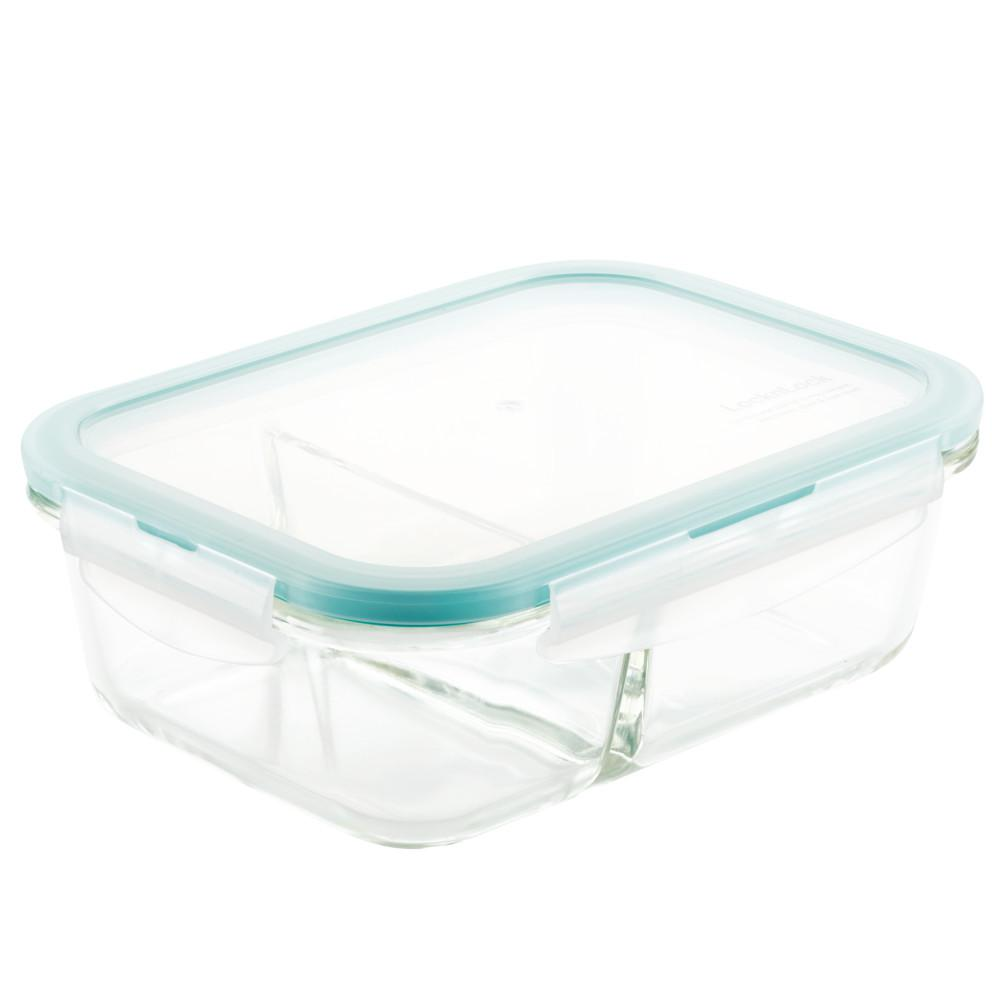 Lock Lock Purely Better Glass Divided Rectangular Food Storage Container 32 Ounce Llg445c The Home Depot