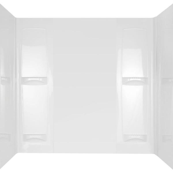 Pro-Series 32 in. x 60 in. x 57 in. 5-Piece Easy Up Adhesive Tub Surround in White