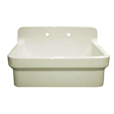Old Fashioned Country Farmhouse Apron Front Fireclay 30 in. 2-Hole Single Bowl Kitchen Sink in Biscuit