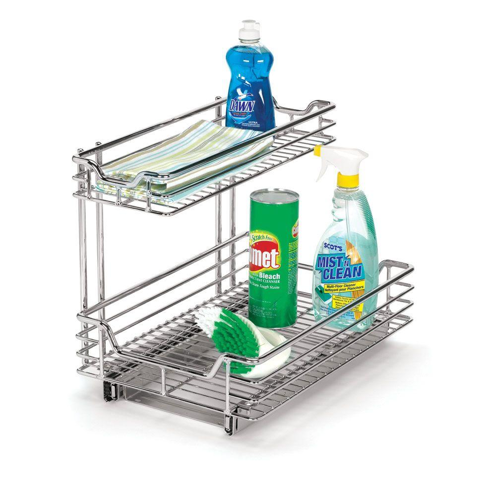 Under Sink Sliding Organizer-KD Chrome  sc 1 st  The Home Depot & Household Essentials 12 in. Under Sink Sliding Organizer-KD Chrome ...