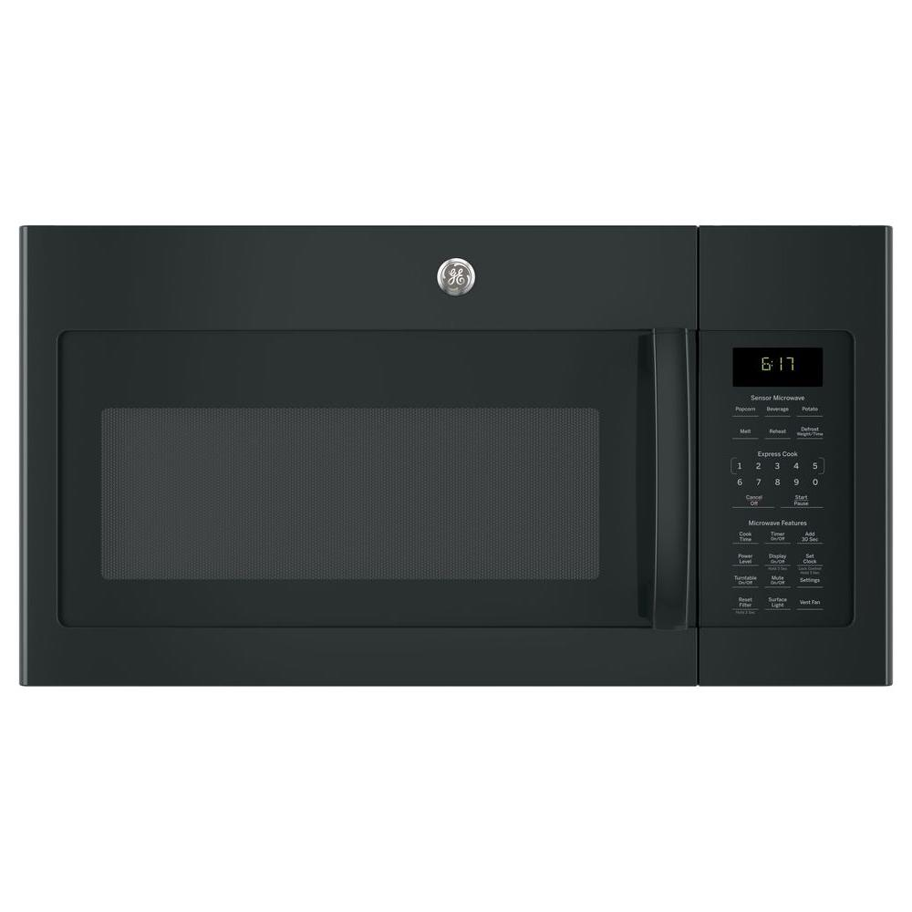 1.7 cu. ft. Over the Range Microwave with Sensor Cooking in Black Your GE 1.7 cu. ft. Over the Range Sensor Microwave Oven in Black has 1000-Watt of power. Two speed 300-CFM venting fan system quickly removes smoke, steam and odors from the cooktop to keep kitchen air fresh and clean. Weight and time defrost lets you simply enter the weight of the food, and the oven automatically sets the optimal defrosting time and power level or set your desired time for defrosting. Add  30 seconds  button adds 30 seconds of microwave cooking time. Melt feature allows worry-free melting of butter, caramel, chocolate and cheese. GE appliances provide up-to-date technology and exceptional quality to simplify the way you live. With a timeless appearance, this family of appliances is ideal for your family. And, coming from one of the most trusted names in America, you know that this entire selection of appliances is as advanced as it is practical.