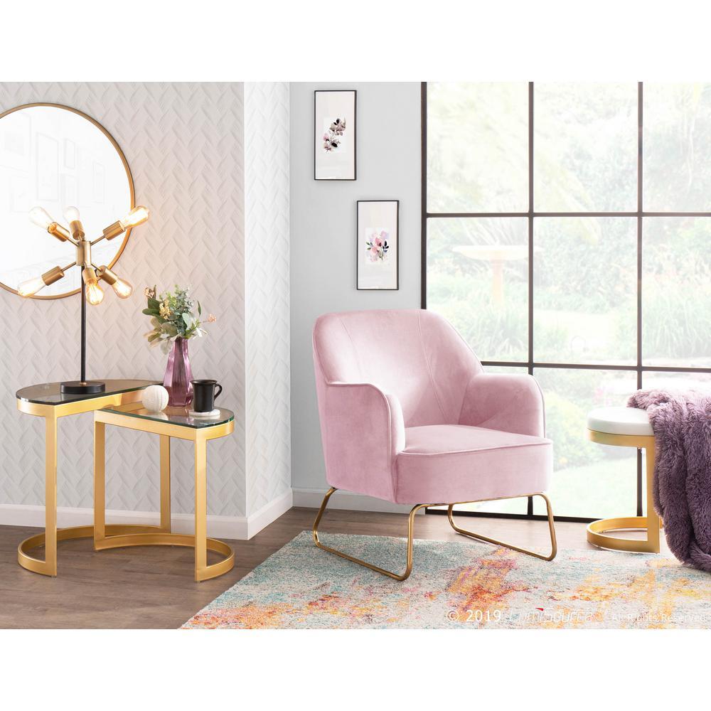 Lumisource Daniella Blush Pink Velvet Accent Chair with Gold ...