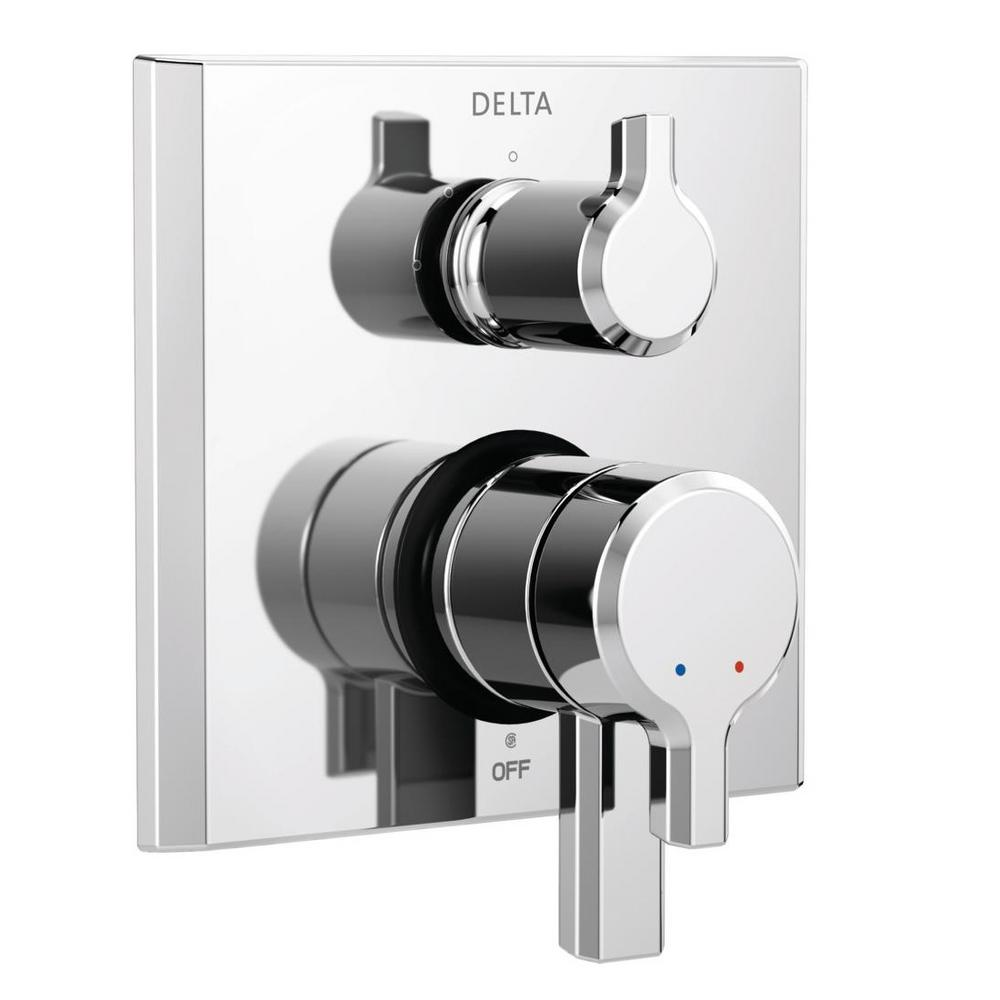 Pivotal 2-Handle Wall-Mount 3-Setting Integrated Diverter Trim Kit in Chrome
