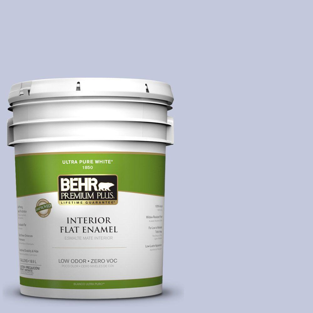 BEHR Premium Plus 5-gal. #600E-3 Icy Brook Zero VOC Flat Enamel Interior Paint-DISCONTINUED