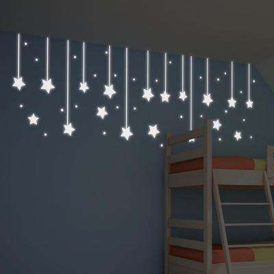 55.2 in. x 12.3 in. Green Hanging Stars Glow in the Dark Wall Decal Set