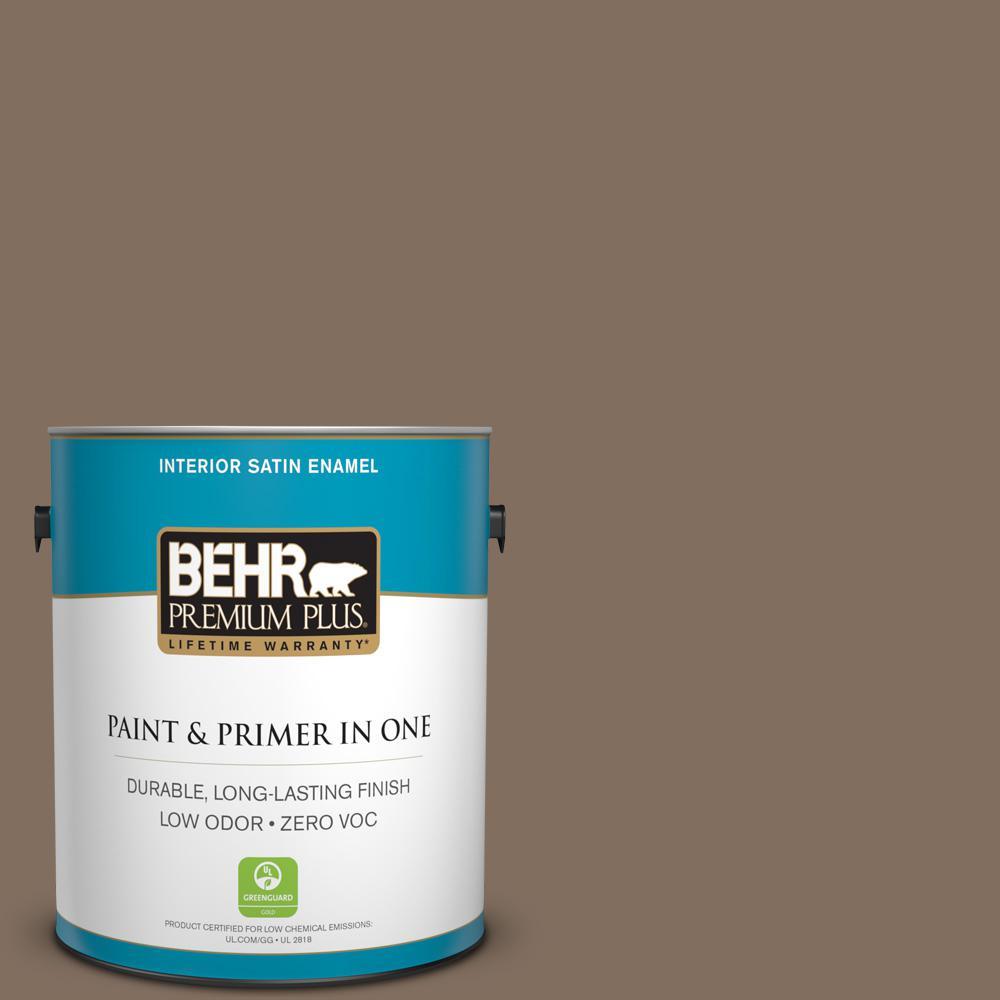 1 gal. #PPU5-04 Mocha Latte Zero VOC Satin Enamel Interior Paint