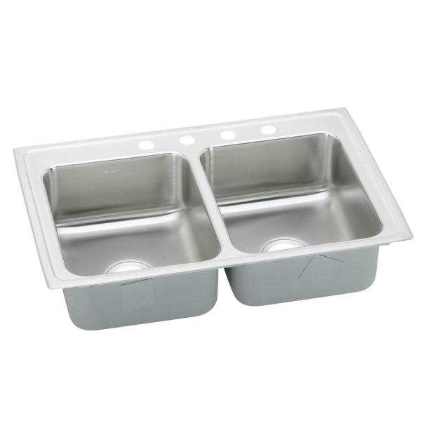 Celebrity Drop-In Stainless Steel 33 in. 3-Hole 50/50 Double Bowl Kitchen Sink