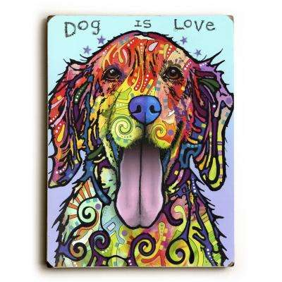 "9 in. x 12 in. ""Dog is Love"" by ArtLicensing - Dean Russo Solid Wood Wall Art"