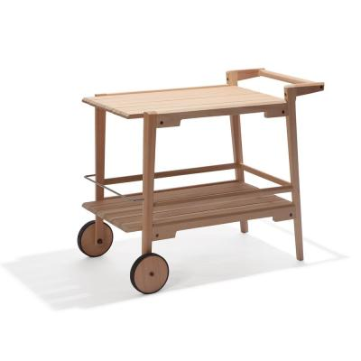 Otero Eucalyptus Wood Outdoor Bar Trolley Cart