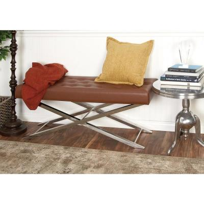 Modern Brown and Silver Tufted Bench