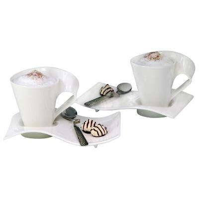 New Wave Caffe 11.75 oz. White Coffee Set (6-Piece Set)