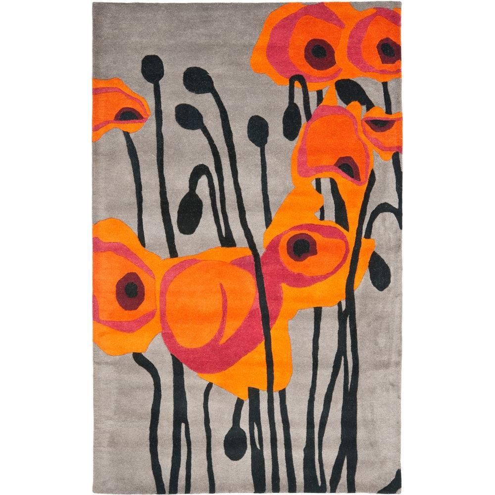 Soho Grey/Orange 8 ft. x 10 ft. Area Rug