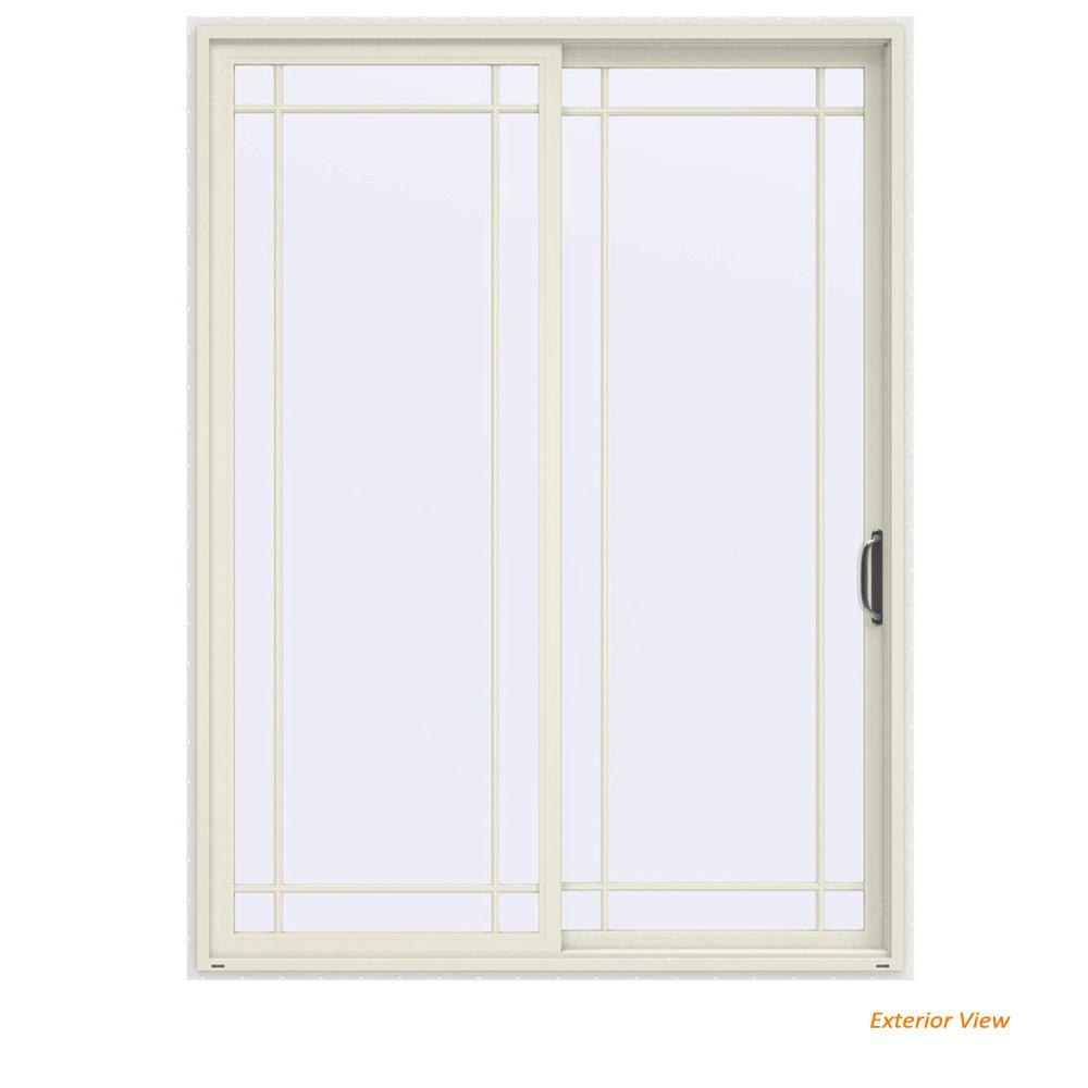 72 in. x 96 in. V-4500 Contemporary Vanilla Painted Vinyl Right-Hand 9 Lite Sliding Patio Door w/White Interior