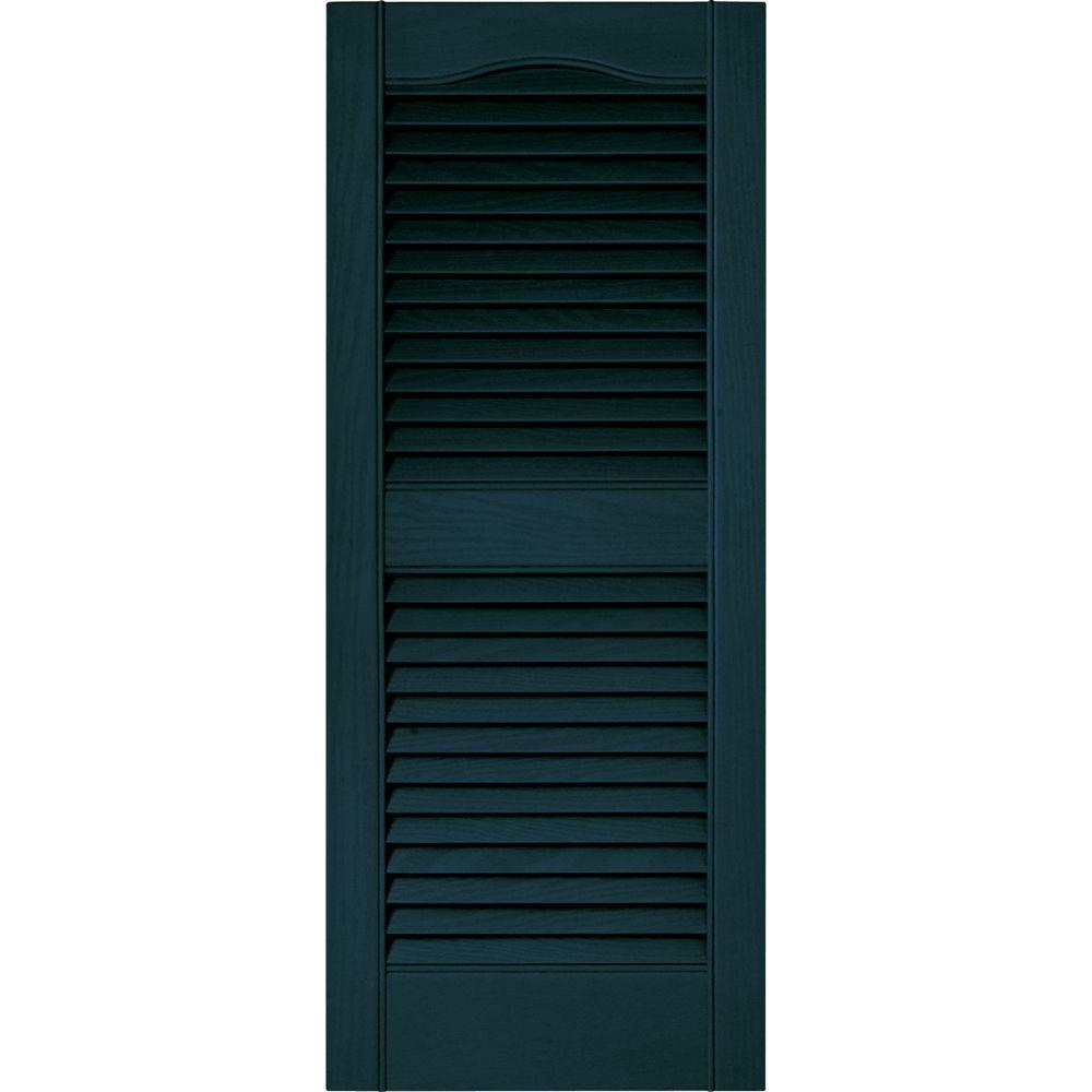 Builders Edge 15 in. x 36 in. Louvered Vinyl Exterior Shutters Pair in #166 Midnight Blue