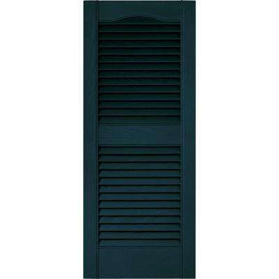 15 in. x 36 in. Louvered Vinyl Exterior Shutters Pair in #166 Midnight Blue