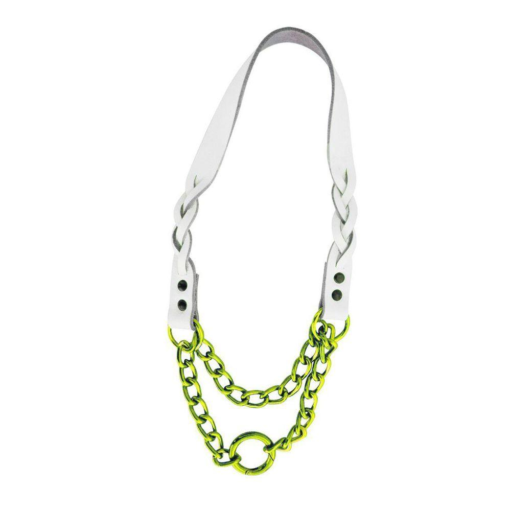 Platinum Pets 15 in. Braided White Leather Martingale in Lime