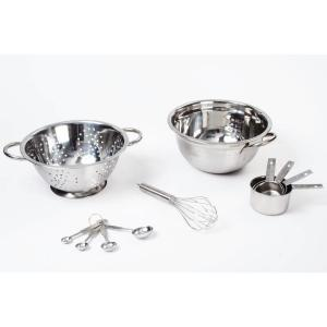 11-Piece Stainless Steel Mixing Bowl Set with Colander Whisk, Measuring Cups and Spoons by