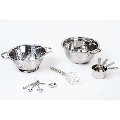 11-Piece Stainless Steel Mixing Bowl Set with Colander Whisk, Measuring Cups and Spoons