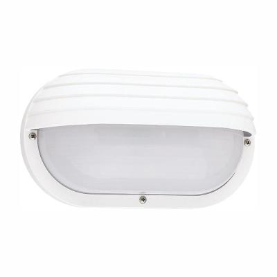 Bayside Small White 1-Light Outdoor 5 in. Bulkhead with LED Bulb