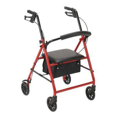 Rollator with 6 in. Wheels in Red