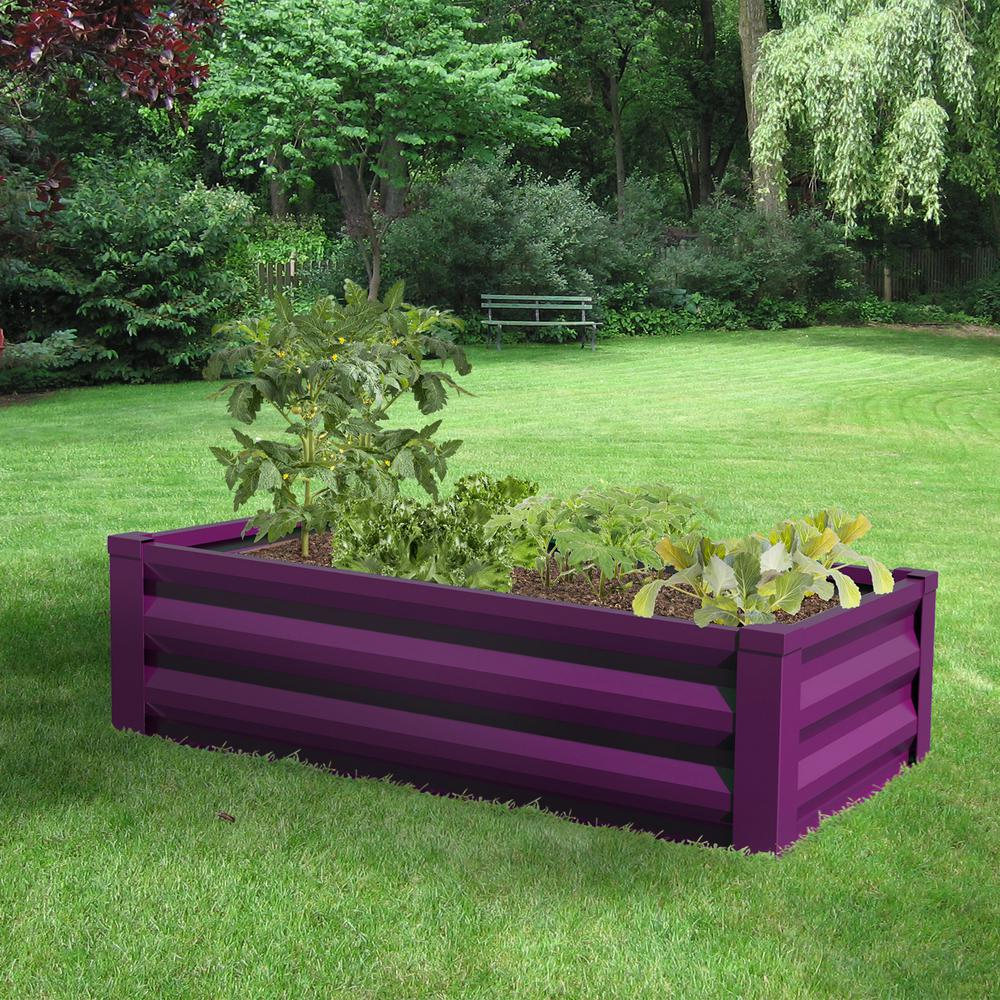 Super Greenes Fence 24 In W X 48 In L X 10 In H Eggplant Purple Pre Galvanized Powder Coated Steel Raised Garden Bed Planter Ncnpc Chair Design For Home Ncnpcorg